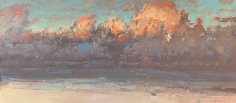 Evening Clouds, Original oil Painting, Handmade artwork, One of a Kind                        (copy)