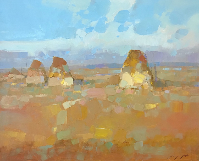 Wheat Stacks, Original oil Painting, Handmade artwork, One of a Kind