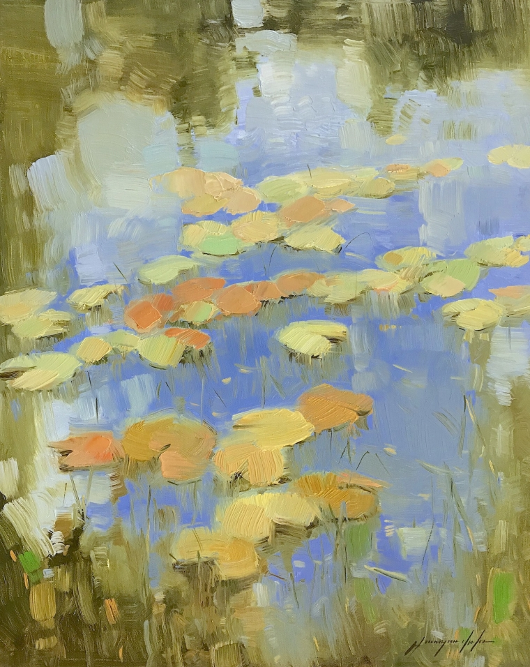 Waterlilies Pond, Original oil Painting, Handmade artwork, One of a Kind