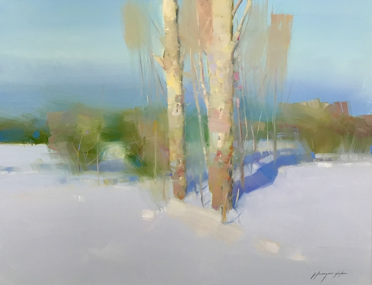 Birches at Winter, Original oil Painting, Handmade artwork, One of a Kind