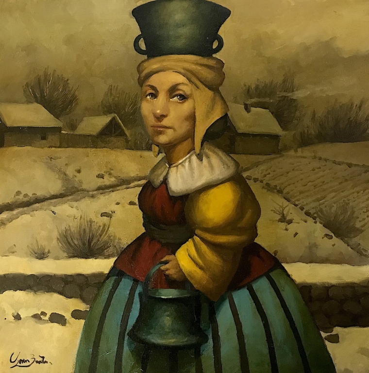Winter, Surrealism, Original oil painting, Handmade artwork, One of a kind