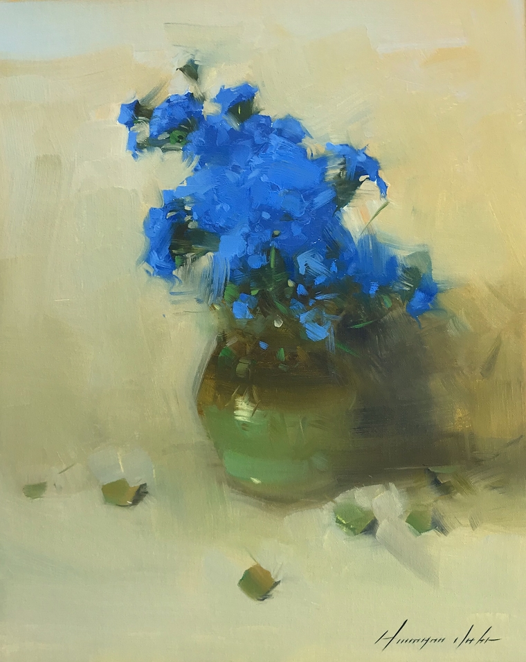 Vase of Blue Flowers, Original oil Painting, Handmade artwork, One of a Kind