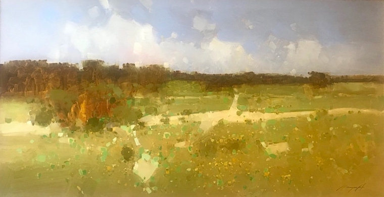 Autumn Meadow, Original oil Painting, Handmade artwork, One of a Kind