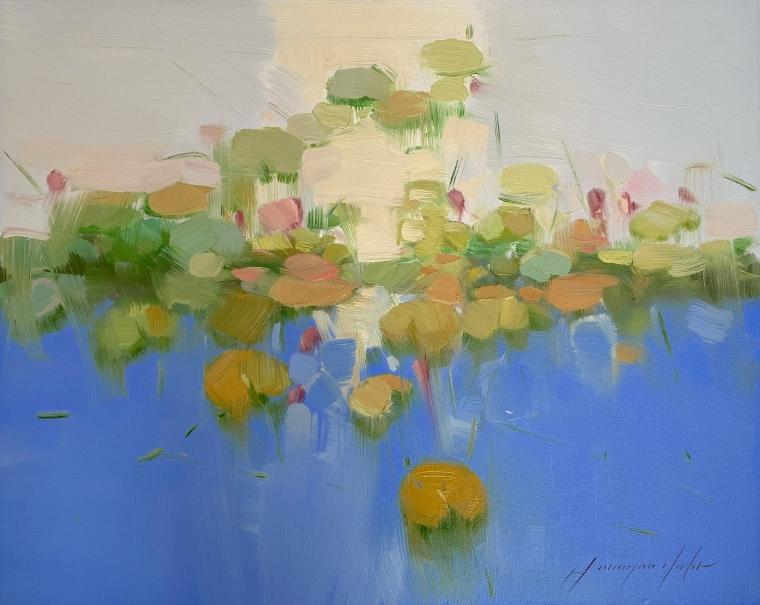 Pond, Original oil Painting, Handmade artwork, One of a Kind